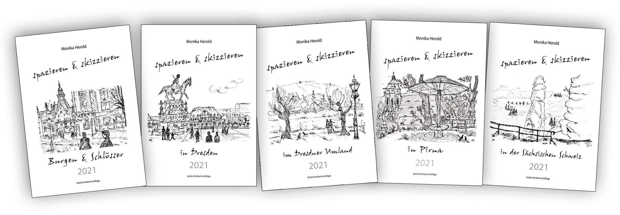 Skizzenkalender 2021, Dresden, Pirna, Sächsiche Schweiz, Burgen & Schlösser